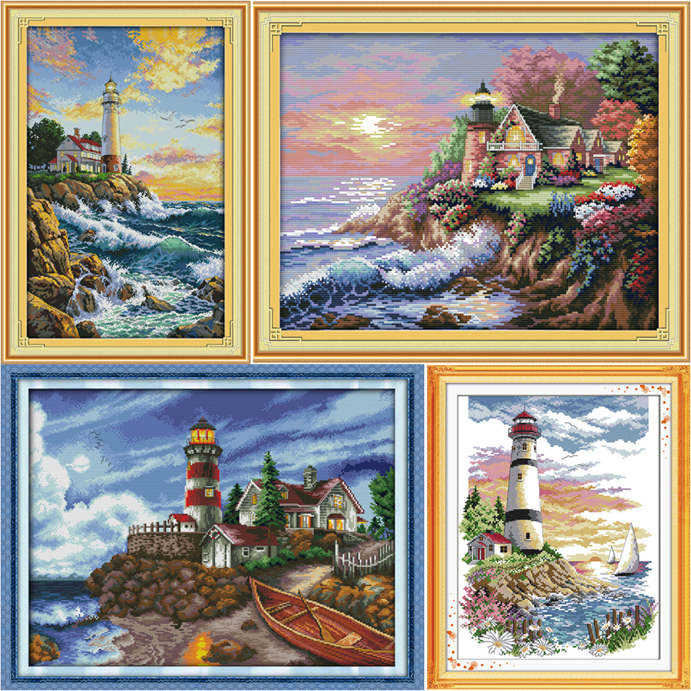 The Seaside Lighthouse Tæller Cross Stitch Kit DMC Cross-Stitch Set Trykt Canvas Broderi Kit Needlework Sets Home Decor