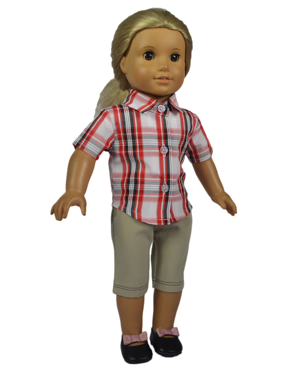 2in 1 Set American Girl Doll Clothes of Casual Plaid Shirt Khaki Capri Pants for 18 American Girl Doll and Other 18 Girl Dolls tmc front chest elastic belt shoulder strap mount for gopro hero 4 2 hero3 3 sj4000 blue