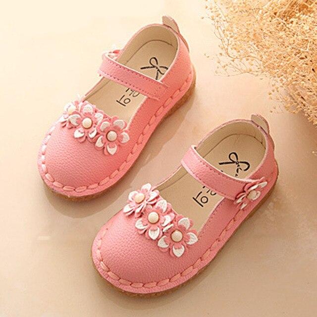 Flower Girls Shoes Spring Childen Princess Shoes Ankle Strap Kids Girls Ballerinas Toddlers Girls Footwear Zapatos Ninas