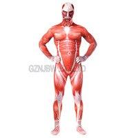 Attack on Titan Cosplay Costume Costume Adult Mens Lycra Spandex Halloween Muscle Zentai Suit Bodysuit Unitard leotard