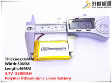 1pcs [SD] 3.7V,880mAH,[603046] Polymer lithium ion / Li-ion battery for TOY,POWER BANK,GPS,mp3,mp4,cell phone,speaker