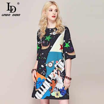 LD LINDA DELLA Fashion Runway Summer Dress Women's Half Sleeve Casual Elegant Angel Printed Beading Vintage Loose Dress - DISCOUNT ITEM  20% OFF All Category