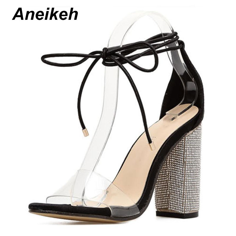 Aneikeh Women High Heels Sandals Summer Square Heels Crystal Heeled Platform Shoes Ladies Sexy Party Wedding Lace Up Shoes 2