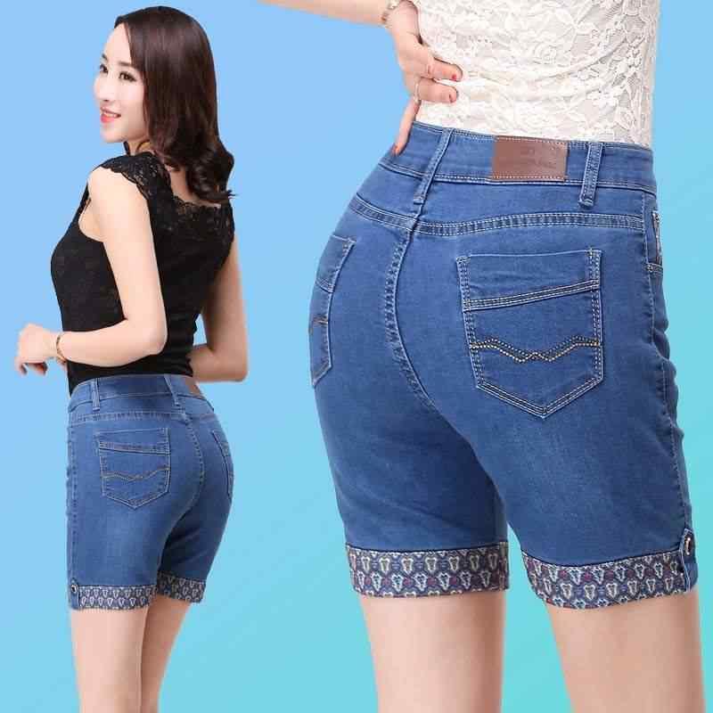 2019 летние джинсы с высокой талией джинсовые шорты хлопок синий Вышивка женские короткие джинсы для женщин плюс размер