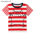 Summer Children T shirt 2017 Cartoon Bear Baby Boy T-shirts Short Sleeve Clothes For Kids Casual Cotton Striped Clothing CG281