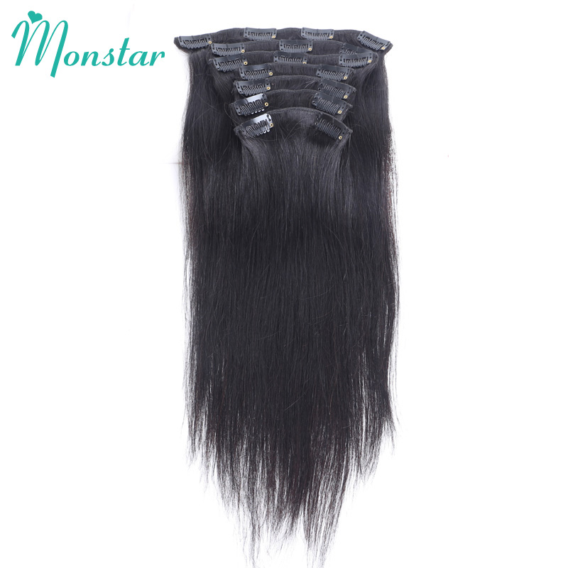 Monstar 7Pcs/Set 120G Straight Brazilian Remy Human Hair Extensions In Clip For Black Women 100% Brazilian Clip In Extensions