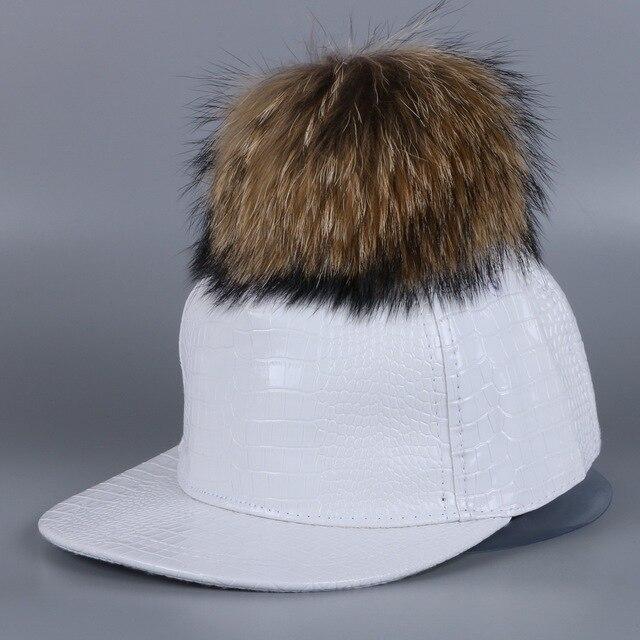 wholesale women brand pompom baseball cap hat real fur mink fox pom ball winter hats pu leather luxury snapback girl casquette