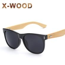 X-WOOD Men's Goggle Glasses Retro Vintage Bamboo Sunglasses Square Geek Style Frames Eyewear Oculos De Sol Feminino Sun Glasses