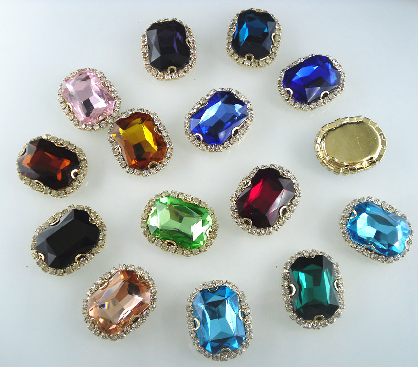 Aliexpress Com Buy 1440pcs Gold Bottom Crystal Clear: Bottom Hole Oval Faceted 18x25mm Glass Crystal Around