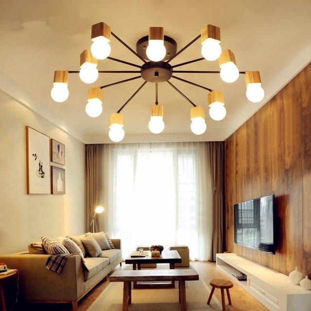 Legno nordico moderno led luce di soffitto per la casa for Illuminazione soggiorno moderno