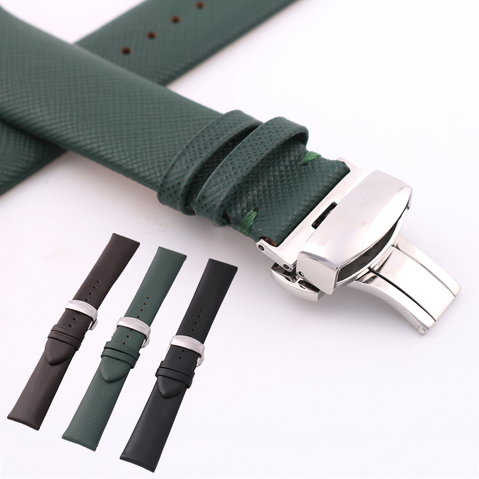 Durable Genuine Leather Watch Strap For Men & Women With Butterfly Buckle 22mm Genuine Leather Watch Band Bracelet For Watch black khaki genuine leather watch band strap pin buckle bracelet watchbands 18 20 22mm durable pd0134