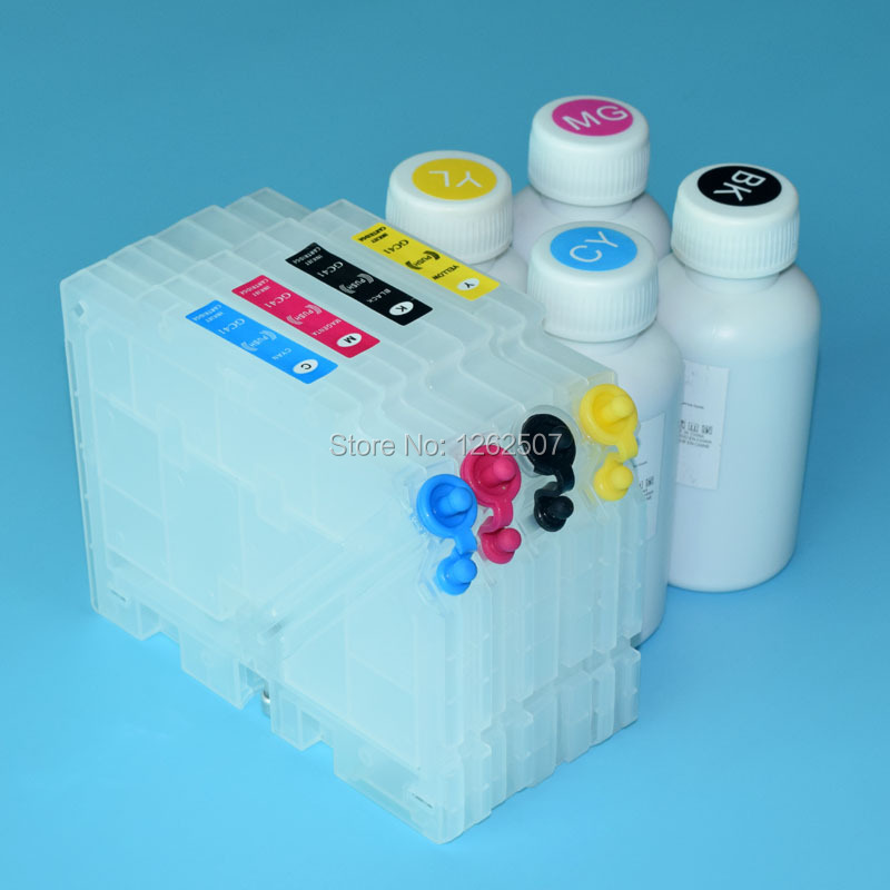 SG3110 GC41 Refill ink cartridge with reset chip sublimation ink for ricoh Inkjet printer sg 3110gn GC 41 Printer ink cartridge 11colors 200ml empty ink cartridge with ink bag for epson stylus photo 4900 printer with arc chip