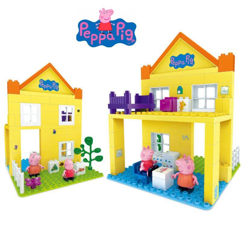 оригинальный Peppa Pig Peppa S Deluxe House Building Blocks игрушка в том числе Peppa Mommy Dolls совместимая