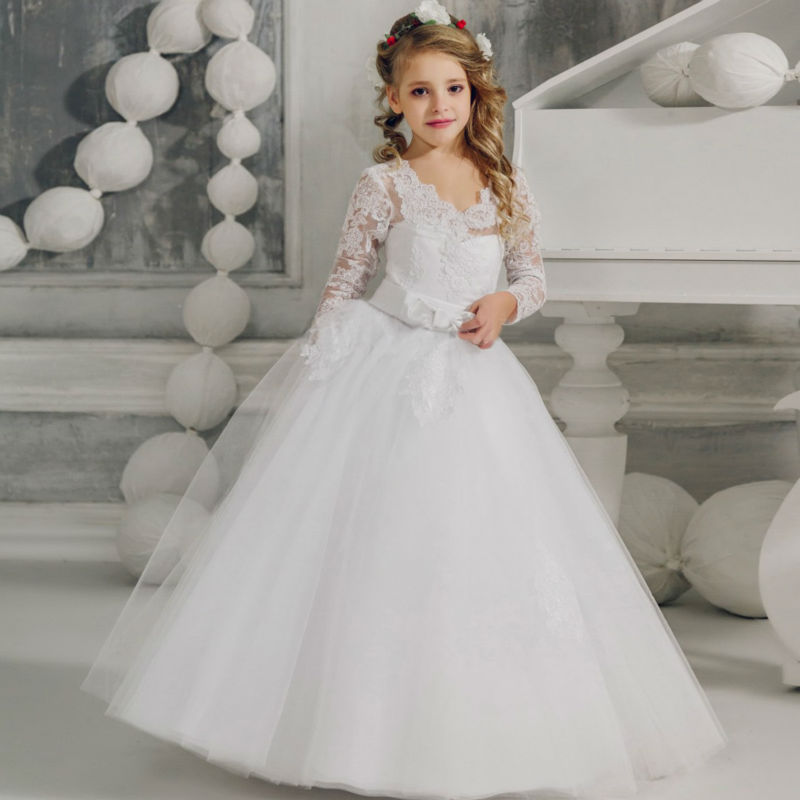 55c2f3257c6c3 Flower Girls Dresses for Wedding White Girls Ball Gown Lace Dresses for 12  Year Olds for Long Sleeve Mother Daughter Dresses