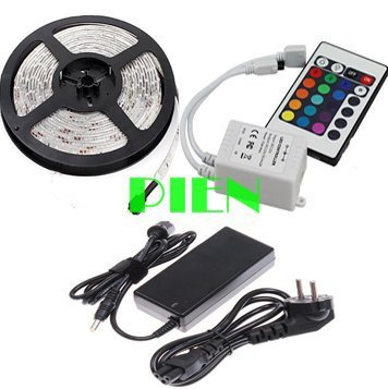 5050 RGB fita led strip tape diode feed 5m leds car-styling Waterproof 12V controle remoto power adapter Free shipping