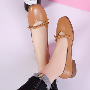 Image 3 - STQ 2020 Autumn Women Ballerina Flats Genuine Leather Shoes Slip On Loafers Women Flats Woman Grandmother Loafers Shoes 1901