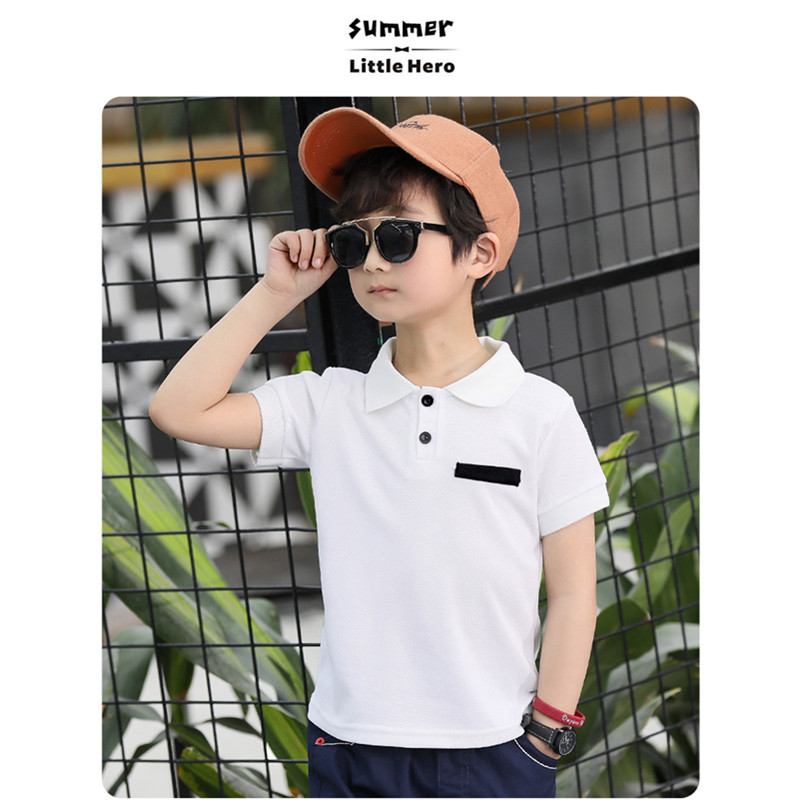 Boys Summer Sports Leisure T-shirt Big Child Cotton Korean POLO Shirt Boy Summer Jacket Pure White T-shirt