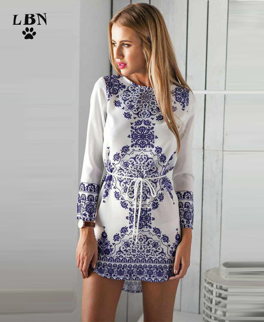 c772cd4f79c8 Vestidos Women Summer Casual Bohemian Irreg Vintage Mini Dress Beach Floral  Digital Print Blue White Long Sleeve Chiffon Dresses