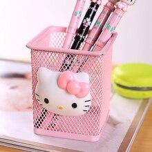 Полый hello бытовой kitty коробки студент стойки металлический kawaii случае розовый