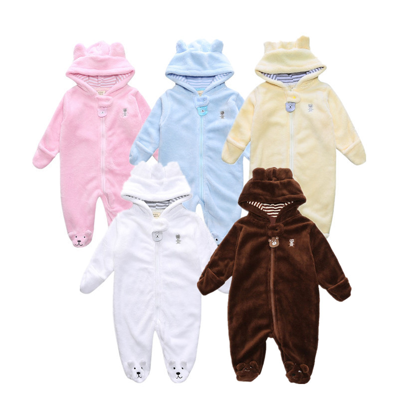 2017 Autumn Winter Baby Boy Rompers Cartoon Coral Velvet Warm Hoodies Girls Newborn Bebe Jumpsuit Cute Clothes Kids Snowsuit children s winter rompers overall for kids pink blue warm coral velvet long sleeve jumpsuit bear baby clothes for kids