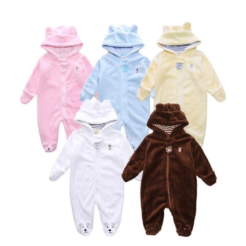 2017 Autumn Winter Baby Boy Rompers Cartoon Coral Velvet Warm Hoodies Girls Newborn Bebe Jumpsuit Cute Clothes Kids Snowsuit