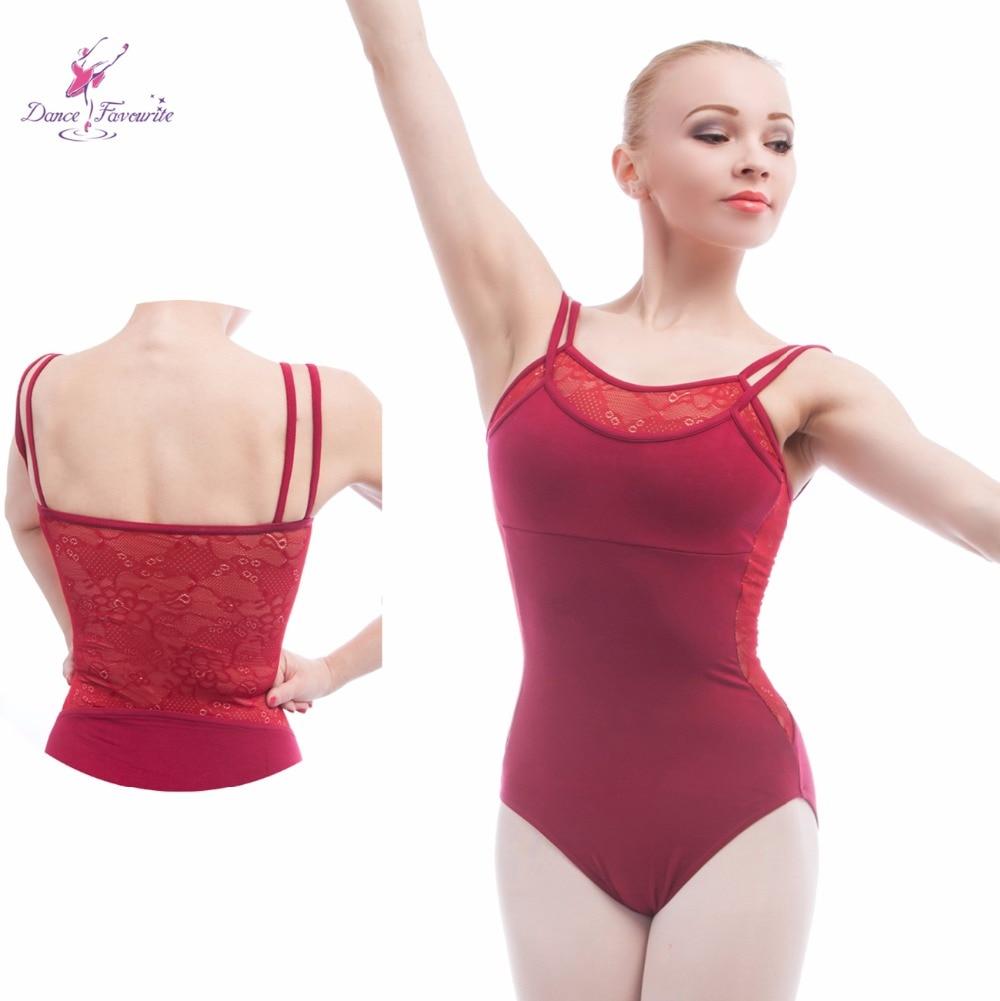 5 pcs/lot burgundy double layer camisole ballet leotard lace adult ballet leotard ballerina dancewear