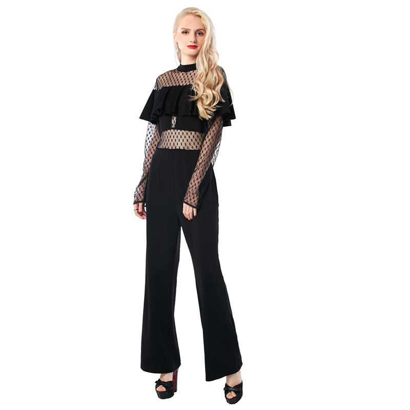 New Slim jumpsuit Long Black Rompers Womens Jumpsuit spring Autumn Party O-neck Embellished Cuffs Mesh Sleeves Loose Club Pants