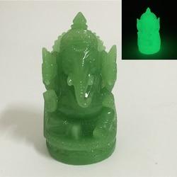 Estatua luminosa de Buda Ganesha hecha a mano piedra de Jade elefante escultura de Dios estatuillas para jardín decoración del hogar brillan en la oscuridad
