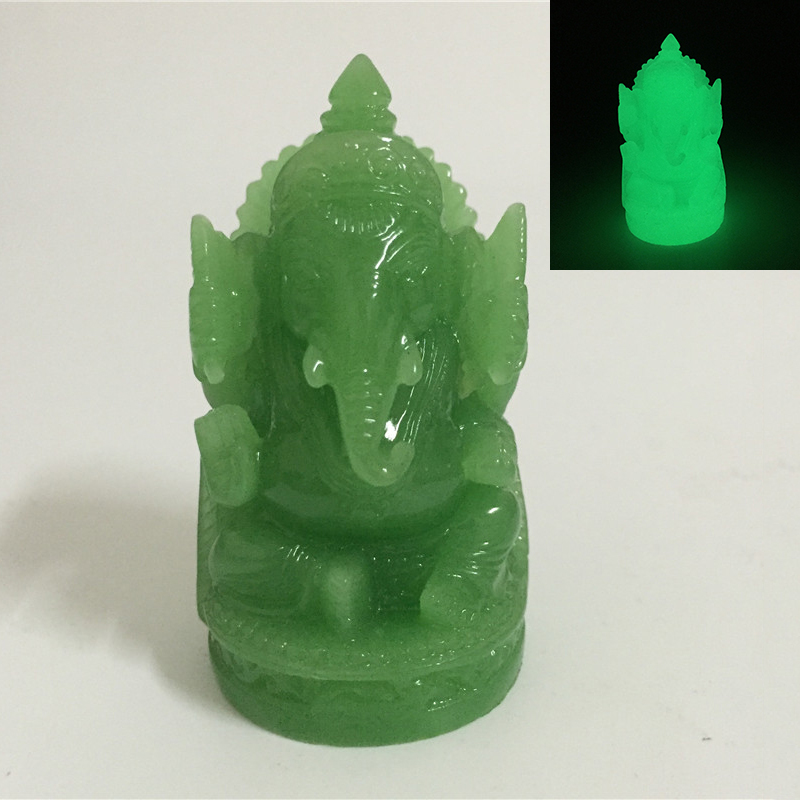 Luminous Ganesha Buddha Statue Man-made Jade Stone Elephant God Sculpture Figurines For Garden Home Decoration Glow In The Dark