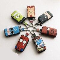 Cartoon Cute Car Key Case Holder Covers Universal Size PU Leather Auto Keys Storage Bag For