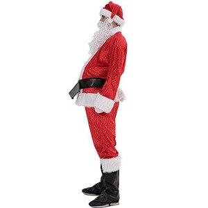 Image 3 - 7pcs Costume di Babbo natale Cappello Di Natale Babbo natale Cosplay Insieme Del Vestito + Hat + Barba + Top + Pantaloni + cintura + Guanti + Stivali di Pelle