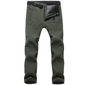 Stretch Waterproof Pants Men Casual Winter Thick Warm Fleece Shark Skin Trousers Male Windbreaker Sweatpants Mens Tactical Pants 1