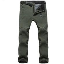 Pantalones elásticos impermeables para hombre, pantalón de chándal informal, grueso y cálido, con forro polar de piel de tiburón, rompevientos, tácticos