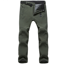 Stretch Waterproof Pants Men Casual Winter Thick Warm Fleece Shark Skin Trousers Male Windbreaker Sweatpants Mens Tactical Pants cheap Straight CN(Origin) Flat Polyester Nylon Pockets Regular 30 - 42 Full Length Men s Casual Waterproof Pants Broadcloth Zipper Fly