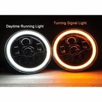 Motorcycle Headlights 7 Round LED Sealed Hi Lo Beam Halo Ring Headlight Fit Harley Davidson FLD Trike Touring Softail