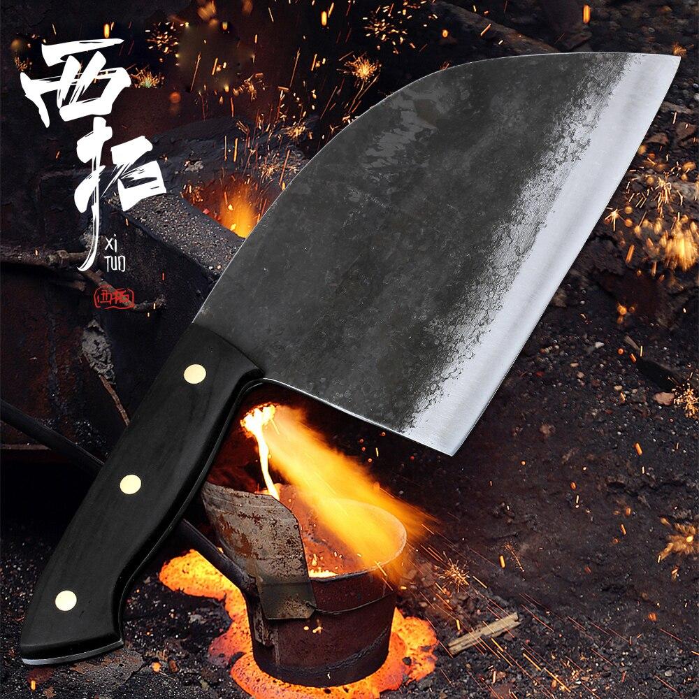 Couteau de Chef forgé à la main XITUO Full Tang lame en acier plaqué dur boucher abattage couperet cuisine hachoir couteau pour os de viande