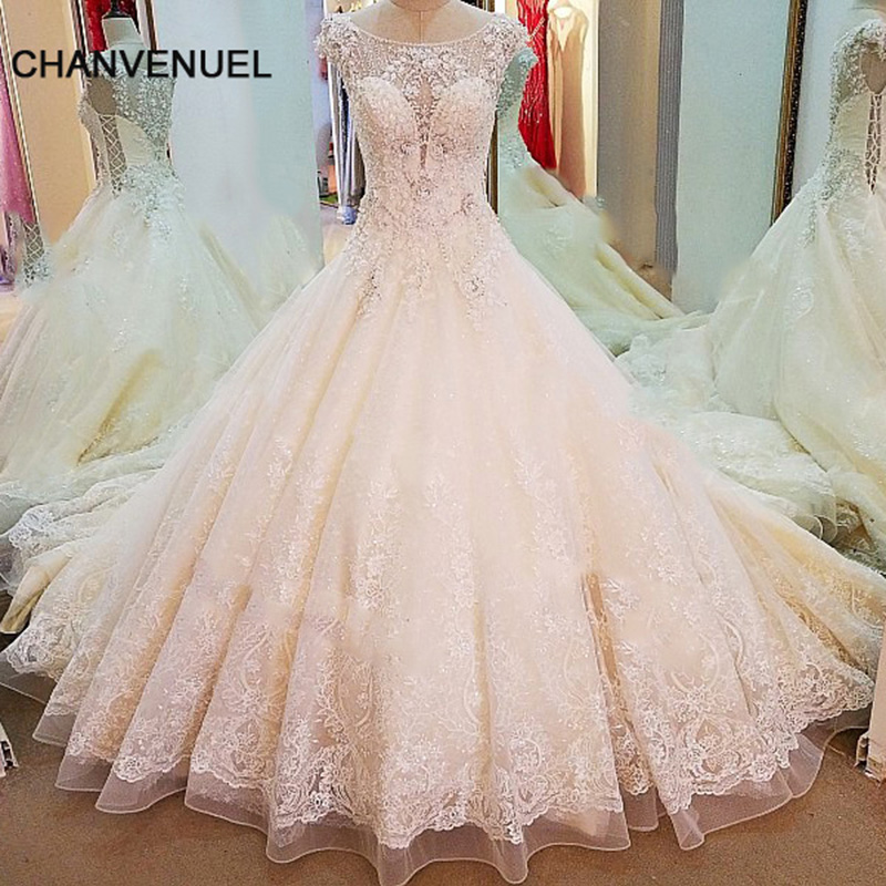 LS65388 Luxury Lace Wedding Dresses 2018 Beaded Crystal