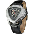 Men Leisure Dress Mechanical Wrist Watch Patent Leather Band Triangle Dial Unique Design Transparent Dial + BOX