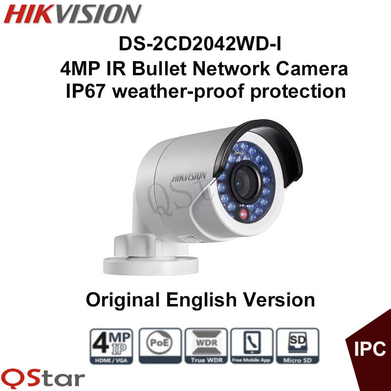 Hikvision Original English Version Surveillance Camera DS-2CD2042WD-I 4MP Mini IP Camera POE Security Camera CCTV Camera IP67 2016 hikvision new arrive english version ip camera ds 2cd2t52 i5 5mp cctv camera 50m ir surveillance camera