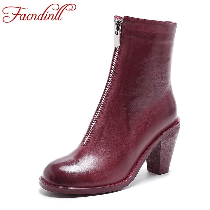 FACNDINLL women ankle boots genuine leather high heels sexy zipper black white red round toe shoes woman autumn riding boots набор игровой для мальчика нордпласт мега гараж с дорогой