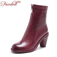 FACNDINLL Women Ankle Boots Genuine Leather High Heels Sexy Zipper Black White Red Round Toe Shoes