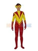 Kid Flash Young Justice spandex Superhero Costume de halloween cosplay Kid Flash espectáculo traje fullbody zentai suit envío gratis