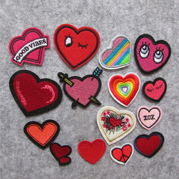 fashion heart Patches For Clothing Iron On Embroidered Appliques DIY Apparel Accessories Patches For Clothing Fabric Badges image