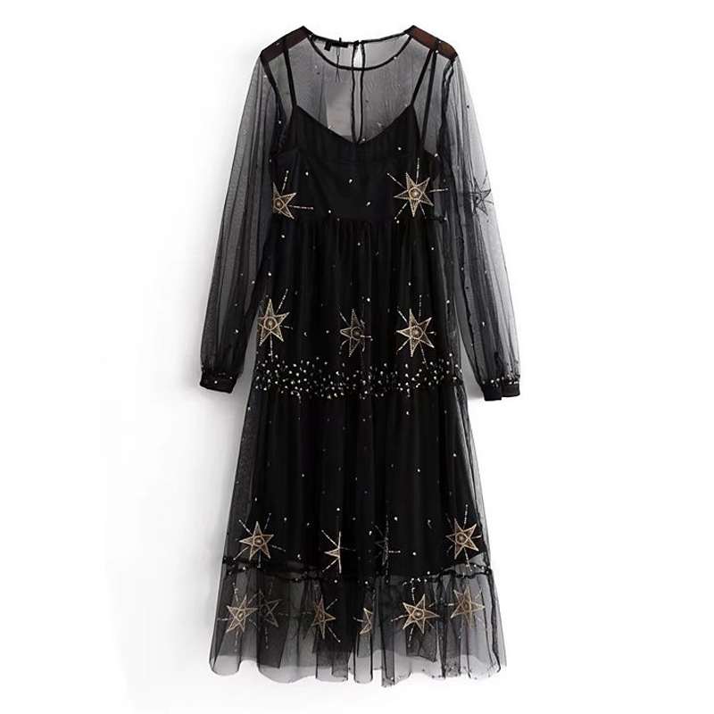 2018 Femmes Deux Pièces Ensemble Robe Étoiles Broderie LaceSexy Perspective Robe O Cou À Manches Longues Casual Femme Noir Robes
