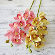 2018 Real touch 3D printing artificial Cymbidium Orchid flower latex hand feel simulation flower for home wedding decoration