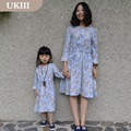 Family matching ourfits casual blue floral long sleeves children clothes girls casual dress mother and daughter matching dresses