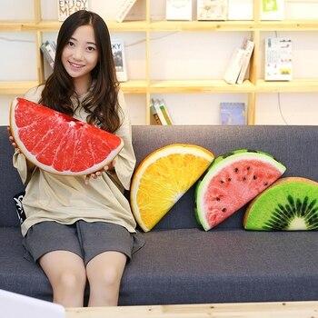 39 cm 3D Meyve Yastık Minder Kanepe kaplamalı yastık peluş oyuncaklar Karpuz kivi lemon orange yastık yastık doğum günü hediyesi