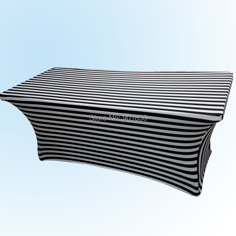 6ft Black And White Stripe Spandex Table Cloth
