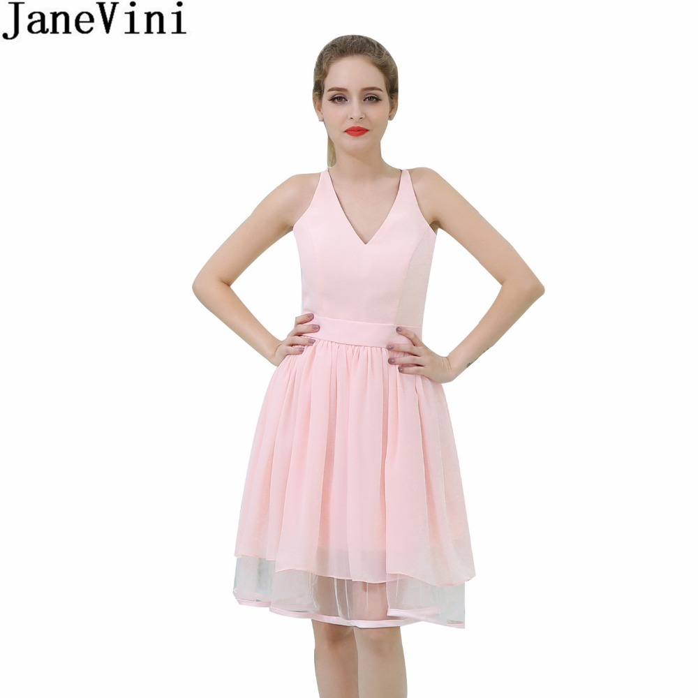 JaneVini Sexy Pink Short   Bridesmaid     Dresses   Simple Lace V-Neck Chiffon Girls Formal Wedding Party Gowns Robe Mousseline In Stock
