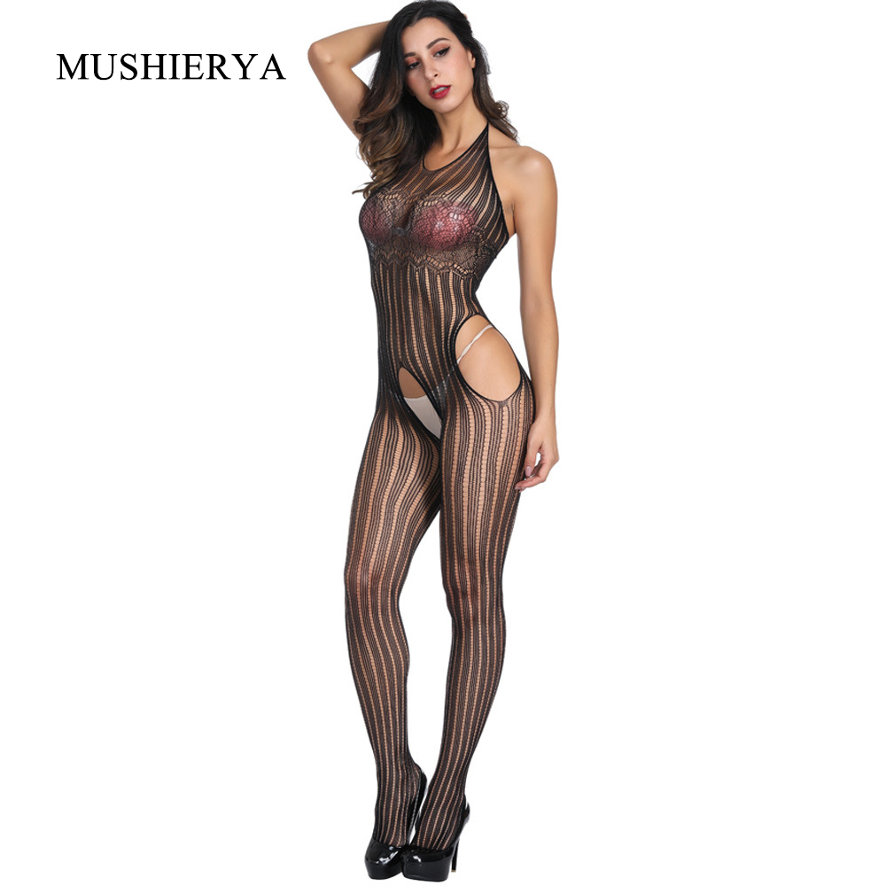Sexy Lingerie Women Sexy Hot Erotic Halter Mesh Fishnet Bodysuit Jacquard Perspective Open Crotch Body Stockings for Women Sexy